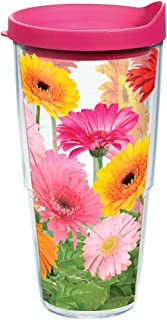 Tervis 1076395 Gerbera Daisies Tumbler with Wrap and Fuchsia Lid 24oz, Clear