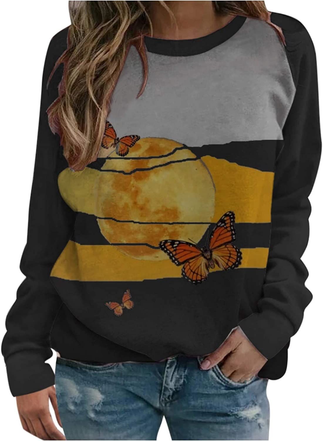 Long Sleeve Online limited product Shirts for Reservation Women Womens Block Print Pullover S Color