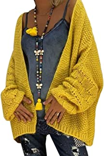 Women's Cable Chunky Knit Open Front Loose Coat Cardigan Sweaters