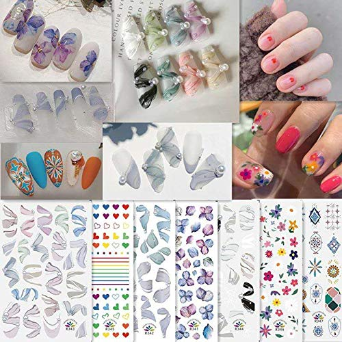 PMSMT 2020 Nueva Pegatina de uñas INS para Zapatos de Ballet, Pegatinas de Transferencia de Cinta, Deslizador de corazón de niña marroquí para manicura, decoración de uñas