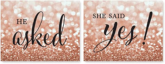 Andaz Press Wedding Party Signs, Glitzy Rose Gold Glitter, 8.5x11-inch, He Asked, She Said Yes! Engagement Save the Date Photoshoot Signs, 2-Pack, Bokeh Colored Party Supplies