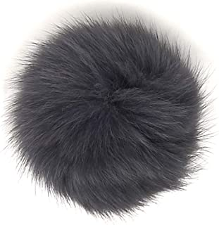 Fox Fur Fluffy Pompom Ball for Beanies Hats Shoes Scarves Bag Charms Accessories Fox Dark Grey 13
