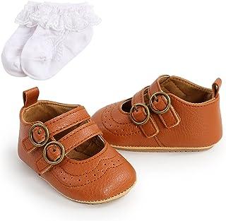 2 pcs Set PU Leather Baby Boys Girl Shoes Socks Infant Soft-Soled Toddler Newborn First Walke Shoes+ Socks (Baby Age : 0-6...