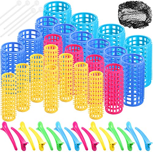 61 Pieces Snap on Rollers Clip on Curlers 4 Sizes Magnetic Hair Rollers Plastic Cold Wave Curlers Duck Teeth Hair Clips and Black Hair Net DIY Hairdressing Styling Tool for Women