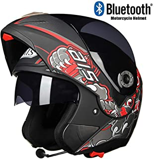 Laikeone Flip Up Bluetooth Motorcycle Motorbike Helmet, Integral Helmets with Bluetooth Headset Antifogging Dual Lens Motorcycle Motorbike Helmet, D.O.T Approved