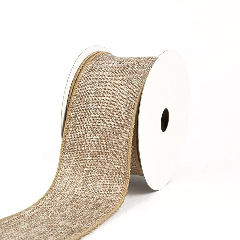 Creative Ideas Wired Burlap Ribbon, 2-1/2-Inch, Toffee