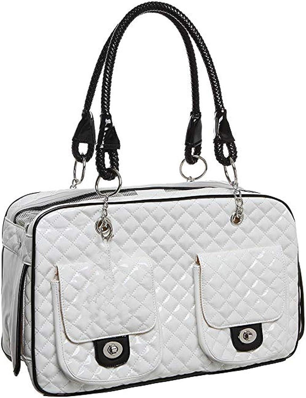 Globalwells White Black Quilted Designer Inspired Faux Patent Leather Dog & Cat Pet Carrier Tote Handbag