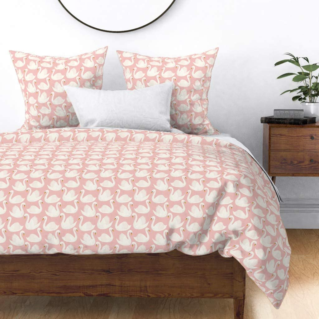 Roostery Duvet Cover Swans Pink Finally Sacramento Mall popular brand and Birds Cute Animal Gir White