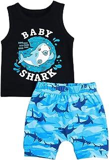 Oklady Baby Boy Girl Clothes Shark and Doo Doo Print Summer Cotton Sleeveless Outfits Set Tops and Short Pants