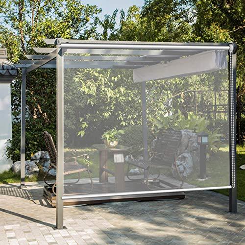 JLXJ Persiana Enrollables Estores Pérgola Exterior Impermeable Cortina Enrollable, PVC Transparente Cortina a Prueba De Viento a Prueba de Lluvia, 95cm/105cm/135cm/155cm de Ancho Estor