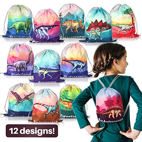 12 Pack Dinosaur Party Supplies Favor Drawstring Bags for Kids' Birthday, Boys and Girls Dino Backpack Bag as Loot and Goodie bags for Gifts, Candy and Snacks, School, Travel, or Toy Storage Bag