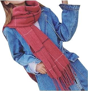 Women's Pashmina Plaid Winter Warm Macrame Wrap Shawl Winter Scarf