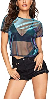 Women's Mesh Tops Long Sleeve Sexy Tops See Through Sheer Blouses