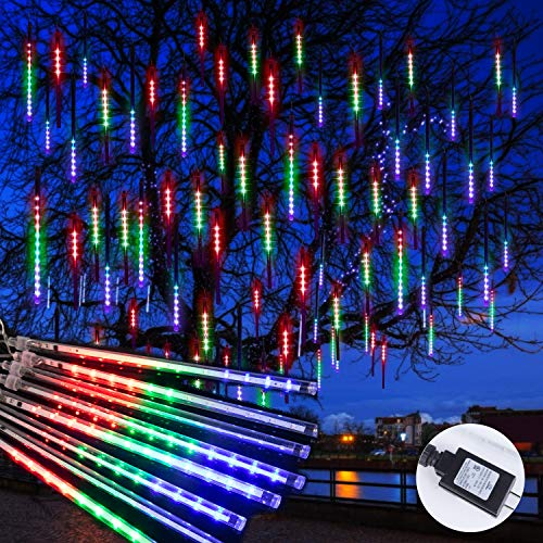 Meteor Shower Christmas Icicle Lights Outdoor-11.8 Inch 10 Tubes 240 LED Snowfall Lights Connectable, Waterproof Hanging Falling Rain Lights for Tree Bushes Holiday Christmas Decorations|Multicolored