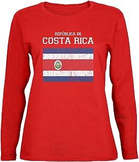 Costa Rica World Cup Distressed Flag Republica de Red Womens Long Sleeve T-Shirt