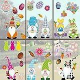 ZSWQ Set di Adesivi per finestre pasquali con 9 Fogli di Adesivi autoadesivi, Uovo di Pasqua, Coniglietto Adesivi riutilizzabili per Feste di Pasqua, per porteper Casa Partito Decorazioni(60 Pezzi)