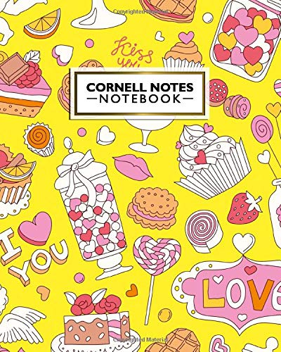 Cornell Notes Notebook: Cornell Note Medium Lined Paper Journal - Large College Ruled Notebook Note Taking System for School, College and University - Cute Candy Shop Sweets Print