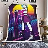 WANFJCTHC Naruto Temari - Manta de franela de lujo suave y cálida de Naruto para sofá o cama, 80 x 60 pulgadas