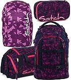 satch pack Pink Bermuda 4er Set Schulrucksack, Sporttasche, Schlamperbox & Regencape Lila