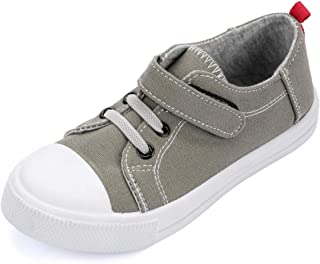 KomForme Kids Girl Sneakers, Low Top Toddler Canvas Shoes with Dual Hook and Loops