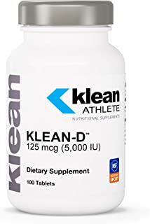 Klean Athlete - Klean-D - 5000 IU of Vitamin D3 to Support Immune Health, Muscle Recovery, Calcium Absorption, and Bone Strength* - NSF Certified for Sport - 100 Tablets