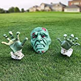 Heyzeibo Halloween Decorations - Halloween Realistic Zombie Face and Arms Lawn Stakes - Green Skeleton Bone Head and Hands Garden Yard Stakes for Haunted House Graveyard, Cemetery, Coffin Party