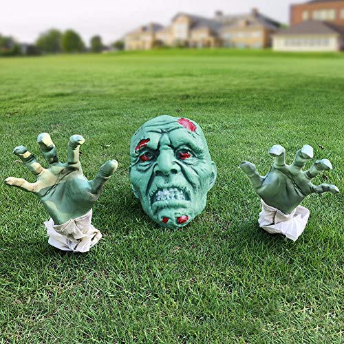 Heyzeibo Halloween Decorations - Halloween Realistic Zombie Face and Arms Lawn Stakes - Green...
