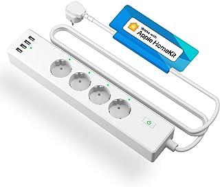 meross Ciabatta Intelligente Multipresa Wifi Smart 4 Schuko 4 Porte USB, Funzione Timer Protezione da Sovraccarico 2400W 1...