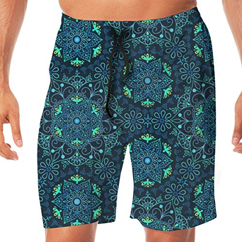 Mandala Cerulean Men's Beachwear Slim Fit Summer Holiday Swim Trunks Quick Dry Striped Swim Shorts-Medium