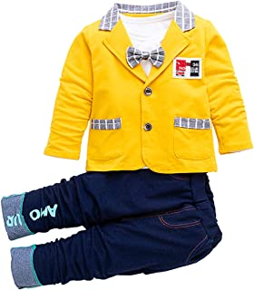 Hopscotch Baby Boys Polycotton Solid Blazer Attached Bow with T-Shirt and Pant Set in Yellow Color