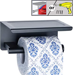 Alise GYT550-B Toilet Paper Holder Bathroom Tissue Roll Holder with Shelf,Two Installation of 3M Self-Adhesive and Wall Drill,SUS304 Stainless Steel Matte Black