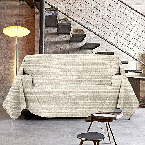 NuvolaNera Copriletto copritutto telo arredo con cotone – per soggiorno, camera da letto o pic nic – Matrimoniale 250x250 cm Beige