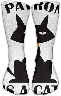 Bigtige, My Patronus es un gato negro Calcetines blancos Calcetines personalizados Calcetines deportivos deportivos Calcetines largos de 50cm para hombres Mujeres