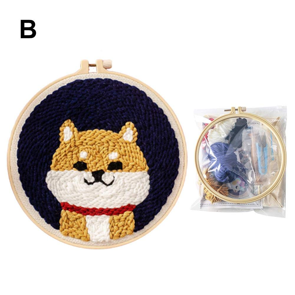 Craft Gift Wall Home Decor Male Haoun DIY Rug Hooking Kit Portrait Theme Handcraft Woolen Embroidery Kit Punch Needle Starter Latch Hook Kit with Punch Needle and Embroidery Frame