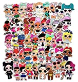 ZJJHX Nueva Linda muñeca de Dibujos Animados Sorpresa Graffiti Pegatinas Maleta de Viaje refrigerador monopatín teléfono móvil Impermeable PVC Pegatinas de Coche 50 Hojas