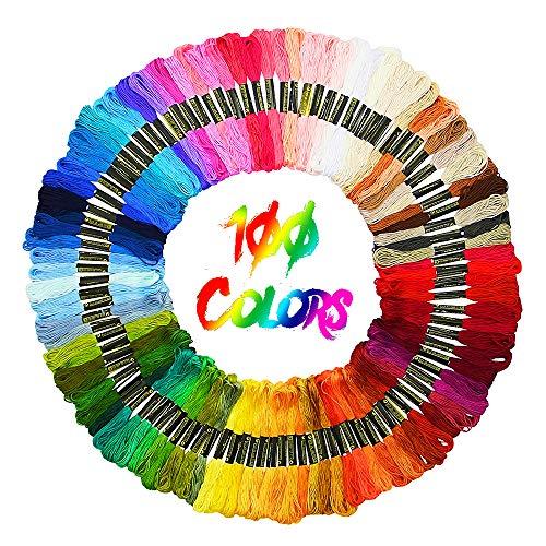 JuguHoovi Stickgarn, Embroidery Floss Nähgarne Stickerei Weicher Baumwolle Multicolor für Freundschaftsbänder, Stickerei, Kreuzstich, DIY Haarringe