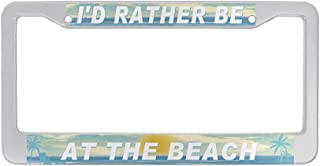 DZGlobal I'd Rather be at The Beach License Plate Frame Tropical Palm Tree License Plate Cover for Women Men Car Tag Frame...