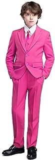 Yanlu 5 Piece Boy's Formal Suits Jacket+Vest+Pants+Shirt+Tie Kids Tuxedos 7 Colors