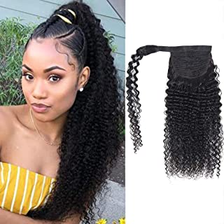 Feelgrace Long Curly Ponytail Hair Clip in Hairpiece Black Kinky Curly Brazilian Human Hair Weave Pony Tail Wrap Around Ponytail Clip in Remy Hair (22 Inch, Kinky Curly)