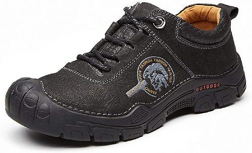 Fuxitoggo Sports de Plein air pour Hommes, Chaussures de randonnée, Cuir antidérapant, Chaussures en Cuir Mat, Plateforme (Couleuré   Noir, Taille   EU 42)