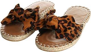 YYW Women Flat Sandals Slides Slip On Open Toe Bowknot Espadrilles Sandals Faux Leather Platform Slipper Sandals