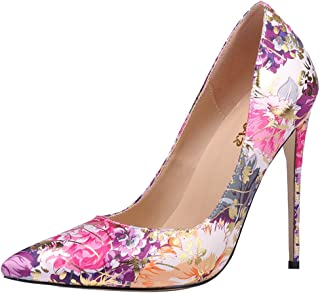 AOOAR Women's High Heel Floral Party Pumps Shoes