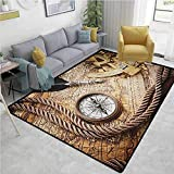 Compass Animals Girls Rooms Nursery Decor Mats, Vintage Navigation Voyage Theme Lifestyle Image with Sextant and Compass Discovery Tools, Easy Maintenance Area Rug Living Room Bedroom Carpet