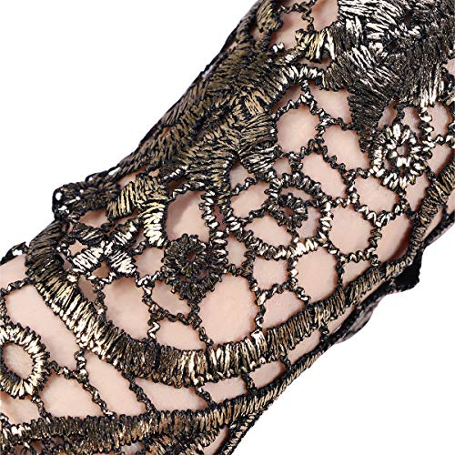 Fenical Classic Retro Style Long Lace Gloves, Resistant Steampunk Goth Skate Style Gloves for Parties, Costumes (Golden) steampunk buy now online