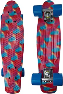 Rishine Skateboard Complete Mini Cruiser Retro Skateboard for Kids Teens Adults, All-in-One Skate T-Tool for Beginners