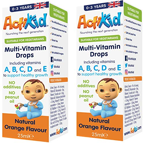 Special Offer 2X ActiKid Multi-Vitamin Drops 25ml, Gelatine Free (Vitamin Drops for Babies, Toddlers and Kids), Immunity Boost