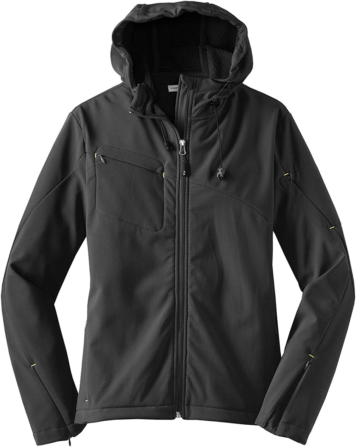 Port Authority Ladies Textured Hooded Soft Shell Jacket, Charcoal Lemon Yellow, X-Small