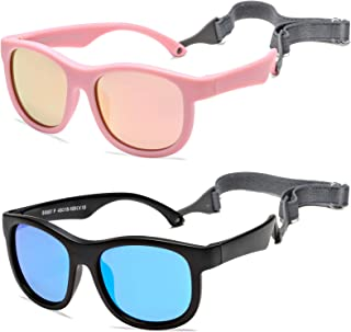 COASION 2 Pack Flexible Polarized Baby Sunglasses with Strap Adjustable for Toddler Newborn Infant 0-24 Months