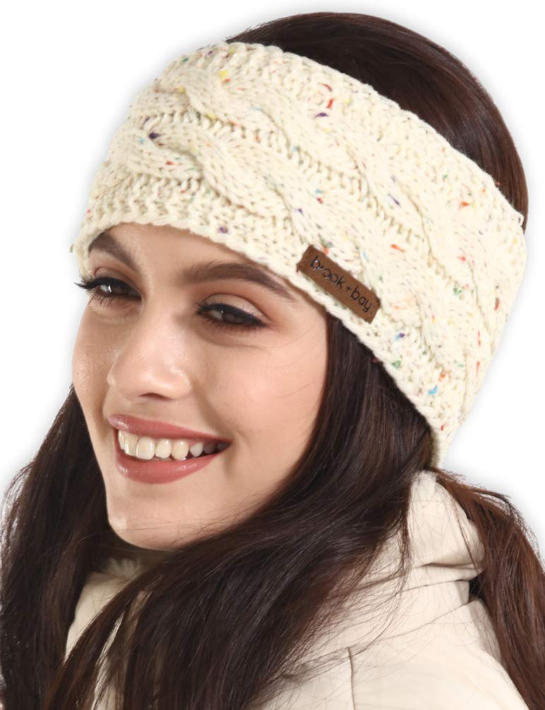 Womens Winter Ear Warmer Headband - Fleece Lined Cable Knit Ear Band Covers for Cold Weather - Soft & Stretchy Head Wrap
