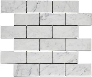 Diflart Carrara White Italian Carrera Marble Mosaic Tie Backsplash Tile for Kitchen Bathroom (Brick Tile)